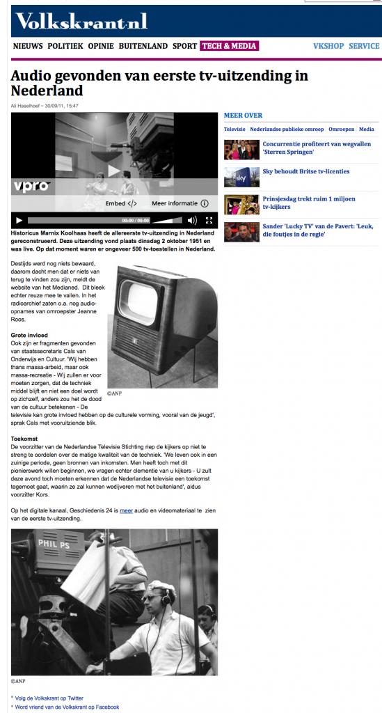 Audio gevonden van eerste tv-uitzending in Nederland - Tech & Media - VK 2012-11-10 15-33-00