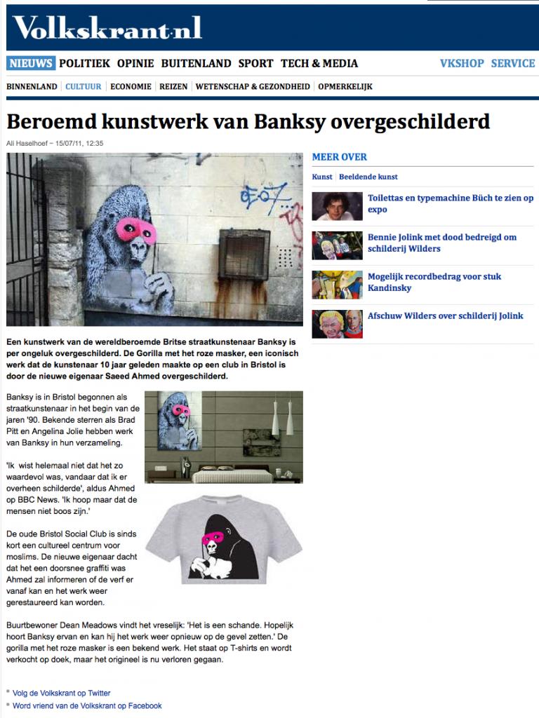 Beroemd kunstwerk van Banksy overgeschilderd - Cultuur - VK 2012-11-11 16-06-20