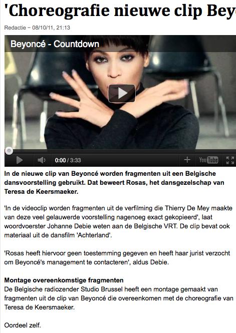 'Choreografie nieuwe clip Beyoncé plagiaat' - dans - VK 2011-10-11 14-44-13