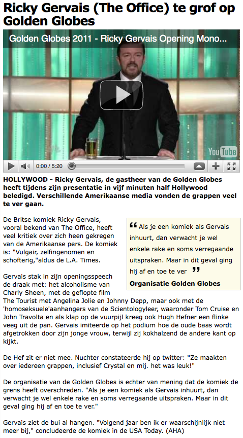 Ricky Gervais (The Office) te grof op Golden Globes - Film - AD 2011-07-18 14-44-31