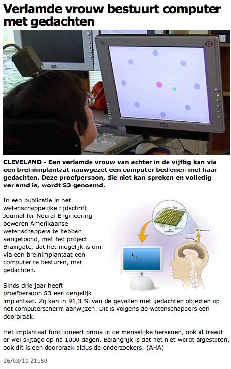 Verlamde vrouw bestuurt computer met gedachten - Gezondheid & wetenschap - AD 2011-10-11 15-01-47