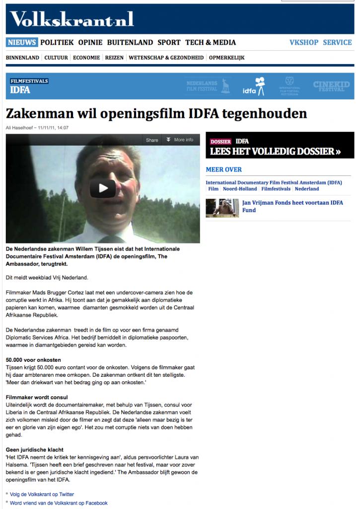 Zakenman wil openingsfilm IDFA tegenhouden - IDFA - VK 2012-11-11 16-11-46
